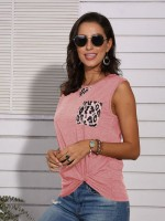 Smooth Pink Leopard Patchwork Vest Top With Pocket Comfort