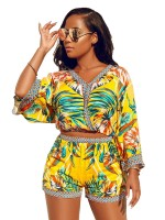 Maiden Yellow Full Sleeve Bohemian Print Top Suits On-Trend Fashion