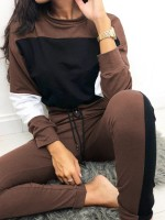 Cheeky Brown Contrast Color Top Pant Long Sleeves Fashion Sale