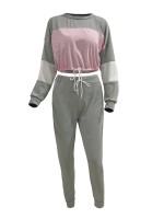 Homely Gray Two Pieces Patchwork Crop Top Pants Ultra Hot