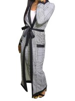 Gorgeously Gray Cardigan Suit Open Front With Pockets Casual Clothing