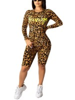 Bewitching Yellow Leopard Long Sleeves Top Shorts Suit Fashion Shopping