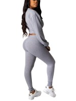 Modern Gray Round Collar Shirt High Rise Pants Set Fashion Online