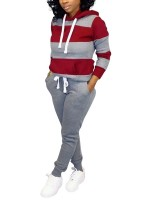 Dazzles Gray Stripe Sweatshirt Full Length Pants Feminine Charm