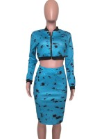 Stretch Blue Skirt Set Zipper Splash-Ink Pattern Elasticity
