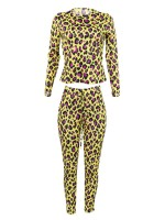 Super Yellow Long Sleeves Top Waist Tie Pants Set Women's Tops