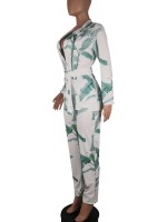 Affordable Blackish Green Turndown Neck Print Suit Full Length Sexy Fashion