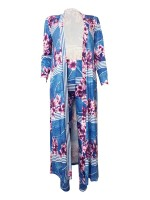 Typical Light Blue Flower Pattern Cardigan Set Queen Size