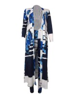 Innovative Stripe Cardigan Pants Suit Large Size Home Clothes