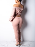 Enthralling Pink Long Sleeves Crop Top High Rise Pants Vacation Time