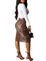 Soft-Touch Brown Leopard Print Skirt Suit High Rise Womens