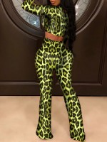 Fancinating Full Sleeves Leopard Top And Pants Unique Fashion