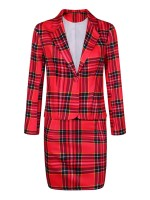 Dramatic Plaid Print 2 Pieces Turndown Collar Classic Fashion