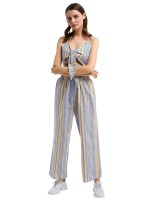 Delicate Sling Stripes Print Top Suit High Waist Trendy Clothes