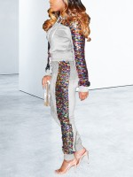 Exquisitely Gray Sequin Sweatshirt Ankle Length Pants Leisure