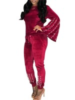Glorious Red Solid Color Top Pockets Full Length Pants Relax Fit