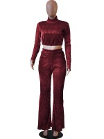Explorer Red Crop Knit Shirt High Waist Pants Charming Fashion