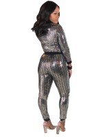 Premium Silver Long Sleeve Top High Waist Leggings Great Quality