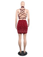 Snug Fit Red Pearls Backless Top Pencil Skirt Set Natural Women