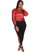 Seductive Red 2 Pieces Zipper Sequin Jacket And Pants Comfort Women