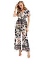 Premium Quality Black 2 Pieces V-Neck Top Wide Leg Pants