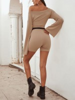 Natural Khaki Oblique Shoulder Bell Sleeve Two-Piece For Running