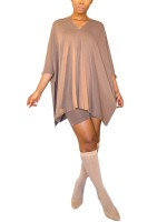 Maiden Apricot Batwing Sleeve Solid Color Two Piece Fashion