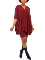 Tantalizing Wine Red Irregular Hem Top And Plain Shorts For Beauty