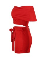 Adorable Red Off Shoulder Top And High Rise Shorts Form Fitting