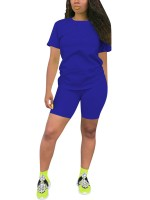 Blue Big Size Solid Color Sport Two-Piece Womens Designer