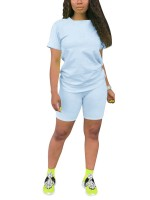 Favorite Light Blue Crew Neck T-Shirt High Rise Shorts Street Style