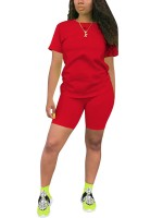 Red 2Pcs Round Neck T-Shirt Sport Shorts For Every Occasion
