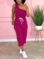 Endearing Rose Red Single Shoulder Tank Solid Color Pants For Party