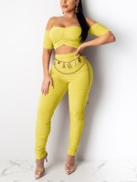 Matching Yellow Ruched Bandeau Top Full Length Pants Online
