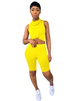 Bewitching Yellow Turtleneck Tank Top Solid Color Shorts Cool