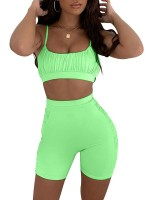 Impeccable Green Sweat Suit Sling Pleated Thigh Length Female Charm