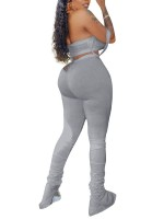 Extraordinary Gray High Rise Legging Crop Top Set Plain Women