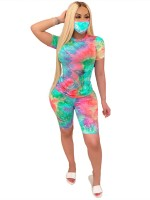 Colorful Crew Neck Top With Mask And Pants Ladies Grace