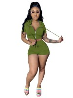 Contouring Grass Green Hooded Neck Zipper Top And Shorts Suit