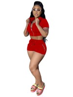 Maiden Red Hooded Crop Top And Shorts Two-Piece Casual Wear