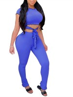 Super Blue Fungus Hem High Waist Cropped Two-Piece Trendy Clothes