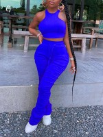 Fashionable Blue Sleeveless Halter Crop Top Ruched Pants Comfort