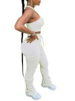 Fancinating White Sleeveless Top Ruched Full Length Pants Breath