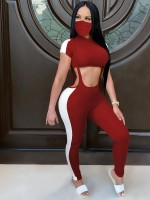 Wine Red T-Shirt Cropped Ankle-Length Pants Set Ladies Grace