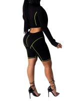 Dynamic Green Zipper Front Women Suit High Rise Chic Trend