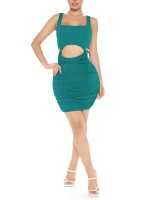 Lake Blue Sleeveless Bodycon Dress Waist Lace-Up Female Clothing