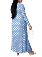 Maiden Blue Jumpsuit And Cardigan Set Dot Printed Lightweight