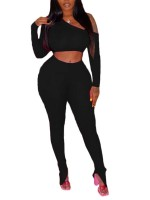Spring Black Long Sleeve Top High Rise Trousers Set Casual Wear