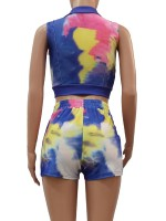 Brilliant Sleeveless Crop Top Tie-Dyed Shorts Fabulous Fit