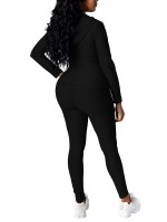 Black Hood Workout Two-Piece With Pocker Women's Fashion